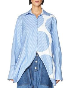 STELLA MCCARTNEY STRIPED OPEN-SIDE POPLIN TOP, BLUE/WHITE. #stellamccartney #cloth #
