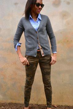Camo Pants + Button Down Shirt + Cardigan 3