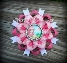 Strawberry Shortcake Pinwheel Style Hairbow by TinkerBugsBowsNSuch, $6.50