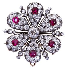 Antique Diamond & Burmese Ruby Pendant Brooch | From a unique collection of vintage brooches at https://www.1stdibs.com/jewelry/brooches/brooches/