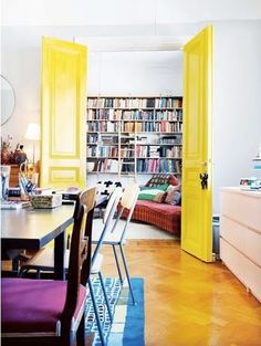 Color splash interior decor for the library! #Neon #Yellow