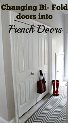 This post shows you how to change Bi Fold doors into French Doors.  This help get back that extra space you lose from bi folds. The2Seasons.com