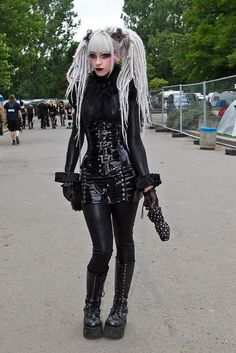 Lovely Fetish, Cyber-Goth with dead head dreads. That black body suit is also a hot treat!