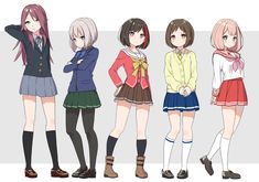 Ran's from Charlotte,Moca's from Accel World,Himari's from Lucky Star Tomoe's from K-On,Tsugu's from Smile Precure Kawaii Anime Girl, Anime Art Girl, Character Art, Character Design, Friendship Images, Dream Anime, Accel World, Anime Group, Friend Anime