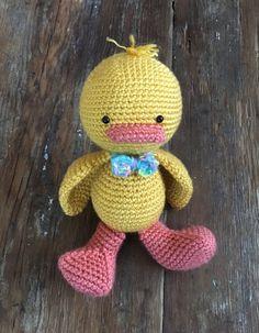 Crocheted Duck Stuffed Animal by MaeDayCrochetShop on Etsy Little Duck, Cuddle Buddy, Baby Booties, Photo Props, Tweety, Cuddling, Crochet, Cute, Handmade