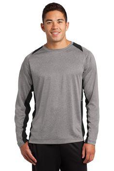 Sport-Tek® Long Sleeve Heather Colorblock Contender™ Tee. ST361LS