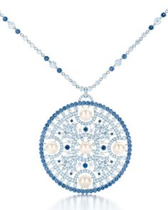 TIFFANY DIAMOND, SAPPHIRE AND PEARL PENDANT, FROM THE 2013 BLUE BOOK COLLECTION