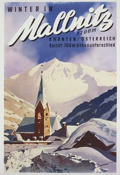 Vintage Ski Posters, Poster City, Travel Ads, City Painting, Retro Illustration, Vintage Advertisements, Europe, Poster Prints, Art Posters