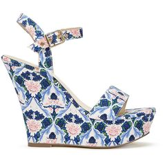ShoeDazzle Wedge Bonette Womens Floral ❤ liked on Polyvore featuring shoes, sandals, floral, wedges, flower print shoes, floral print wedge sandals, floral print shoes, flower pattern shoes and shoedazzle shoes