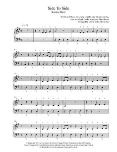 Side To Side by Ariana Grande Piano Sheet Music | Rookie Level