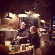 Exposed brick and low lighting. monmouth coffee, borough market