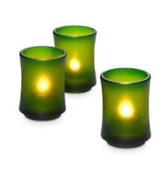 "Bamboo Stackable Votive Trio  4.9 out of 5  Item #:  P90660  Clever green glass holders have the look of a bamboo stalk when stacked together. Each can also be used alone.  3"" h, 2 1/2"" dia.  Price:  $28.00/set of 3  SHOP:  www.partylite.biz/madeforyou"
