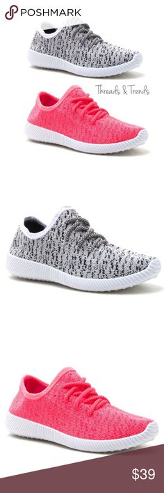 LAST PAIR! 🌸 Fly Knit Sneakers An ultra-comfortable popular light weight Flyknit sneaker. These is made to offer breathability and unique styling. Sneakers that  stand out from the crowd. In colors neon pink or black/white. Super soft comfy sole cushion insert. Threads & Trends Shoes Sneakers