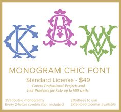 Monogram Chic Font by Shuler Studio on Embroidery Monogram Fonts, Applique Monogram, Embroidery Transfers, Monogram Letters, Monogram Bedding, Free Monogram, Monogram Shirts, Monogram Logo, Embroidery Materials