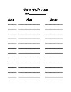 I created this field trip log to keep track of our homeschool field trips. This log can be used in the classroom and for homeschool purposes.