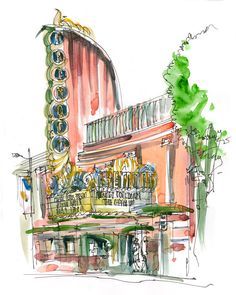 Architectural Sketch Art Deco Theater