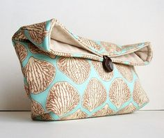 Handmade Makeup Bag, Blue and Tan Clutch Purse, Great for Travel, Beach Wedding Accessory, Summer Wedding, Gift Under 25, Bridesmaid Gift on Etsy, $16.00