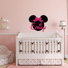 Girl Name Wall Decal  Minnie Mouse Wall Decals Personalized Name Stickers  Baby Kids Girls Room Decor Nursery Wall Art Home Interior M052 | Minnie  Mouse, ...