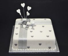 silver wedding anniversary cake with roses from £55