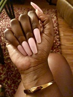 Long pink coffin nails