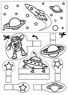 space - Coloring pages and crafts Space Preschool, Space Activities, Science Activities, Activities For Kids, Space Classroom, Classroom Themes, Space Planets, Space And Astronomy, Space Projects