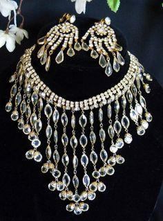 Vintage Large Demi Parure Juliana Crystal by mycottagecollection, $192.00