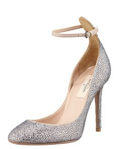 Valentino Crystal-Covered Tango Stiletto Pump - Bergdorf Goodman from Bergdorf Goodman. Saved to My Shoes. Stilettos, Stiletto Pumps, Valentino Pumps, Valentino Garavani, Wedding Heels, Evening Shoes, Silver Heels, Bergdorf Goodman, Bridal Shoes