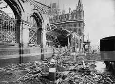 September An area near St Pancras Station showing the damage caused by a German air raid during the London blitz in World War II Picture: Central Press/Getty Images Camden London, Old London, Blitz London, London Today, Camden Town, Vintage London, London History, British History, London Bombings