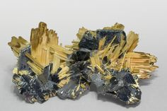 Acicular crystals of Rutile with good terminations, very bright with a golden yellow color. The crystals of Rutile have grown epitactically on laminar crystals of Hematite with a very sharp hexagonal contour.  Novo Horizonte, Bahia  Brazil