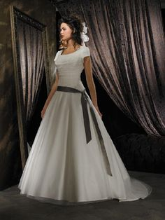 lds wedding dress, if the ribbon was gone that would be better