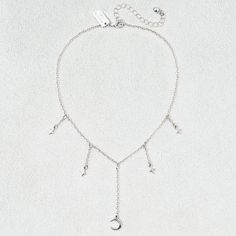 AE Stars & Moon Collar Necklace ($9.71) ❤ liked on Polyvore featuring jewelry, necklaces, metallic, star charm necklace, steel jewelry, steel necklace, star charms and american eagle outfitters