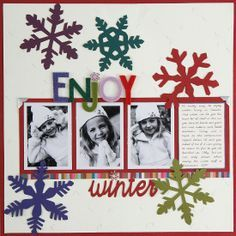 """Enjoy Winter"" ~ Snowflakes & Snow Play Photos ~ Scrapbook, Journal, SMASH Book, Project Life, Card, Tag"