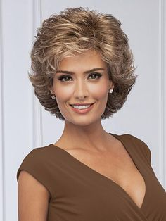 Find the Fortune Wig by Gabor Wigs. All-over loosely waved layers afford this fashionable, collar-length cut styling ease and versatility. Short Curly Hair, Short Hair Cuts, Medium Curly, Curly Wigs, Pixie Cuts, Medium Hair Styles, Curly Hair Styles, Gabor Wigs, Short Hair With Layers