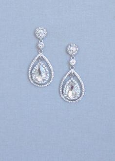 Bridal Teardrop Earrings Wedding Jewelry Swarovski by ORNENT