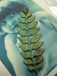 Stunning Verdigris Long and Leafy Branch Stamping 91VER x1