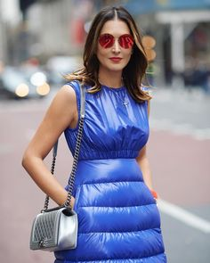 Blue dress by Moncler Warm Outfits, Winter Outfits, Cool Outfits, Cool Jackets, Jackets For Women, Wind Skirt, Nylons, Dior, Girl Fashion