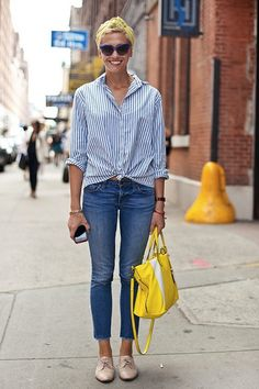 Weekend wear: stripe button up tied at waist, jeans, oxfords, bright purse