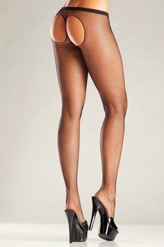 Drive your partner wild with desire in this sexy pantyhose from the Be Wicked collection. This special mesh pantyhose is partially open at the back. Nylons, Pantyhose Brands, Brand Names And Logos, Wicked, Black Fishnets, Rave Wear, Hollywood Fashion, Lingerie Set, Costumes For Women