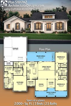 Country Craftsman House Plan with Split Bedrooms Architectural Designs Farmhouse Home Plan gives you 3 beds, baths and over square feet of heated living space. Where do YOU want to build? Family House Plans, Ranch House Plans, Craftsman House Plans, New House Plans, Dream House Plans, Dream Houses, Craftsman Style, House Plans With Garage, Ranch Floor Plans