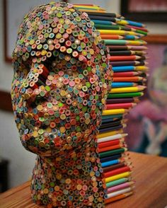 Colored pencil sculpture: Turning the use of colored pencils on its head.