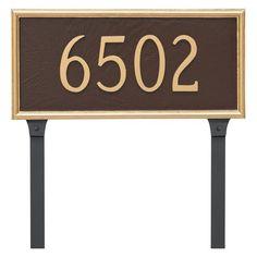 Montague Metal Melilla Rectangle Address Sign Lawn Plaque - PCS-0074S1-L-BS