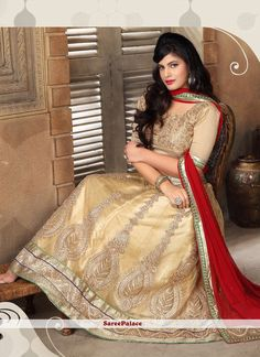 Precious Beige Patch Border Work A Line Lehenga Choli