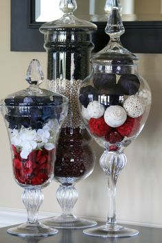 I've never done 4th of July / Patriotic apothecary jars before, because I have never been able to figure out what to put in them. So this year I got to work early. I started with red, white a…