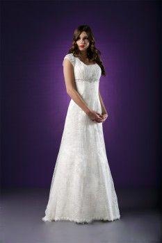 Portia Straight Lace Modest Wedding Dress