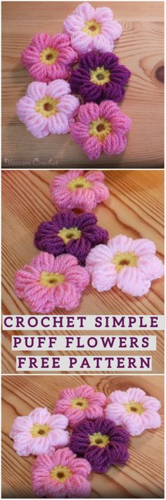 Crochet Flowers This Crochet Puff Flowers are very beautiful plus very easy to make. You can find many crochet video tutorials or patterns on our website. So I decided to share it with my audience and I hope you will enjoy it and you…Read Crochet Puff Flower, Knitted Flowers, Crochet Flower Patterns, Crochet Crafts, Easy Crochet, Crochet Projects, Crochet Squares, Crochet Stitches, Blanket Crochet