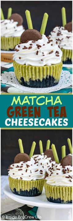 Matcha Green Tea Cheesecakes - a chocolate cookie crust and sweet green tea flavor in these mini cheesecakes is delicious on a hot sunny day. Make this easy recipe for summer picnics! #cheesecake #matcha #greentea #minidesserts #summer #picnic #recipe