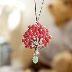 Bubble Tree Necklace - Pink // N0019 // Birthday Gift, Guraduation Gift, Everyday Jewelry via Etsy