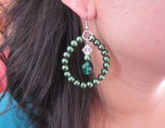 Emerald Pearl and Crystal Earrings Beaded Earrings by SLDesignsHBJ, $11.00
