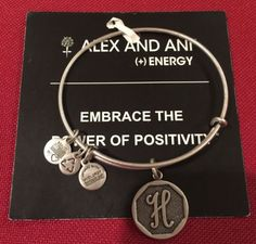 Alex & Ani Initial letter H charm  Bracelet Rafaelian silver new w tags On Card - http://designerjewelrygalleria.com/alex-ani/alex-ani-initial-letter-h-charm-bracelet-rafaelian-silver-new-w-tags-on-card-2/