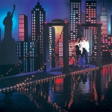 New York, New York Bridge Kit    Item # 515SDB   This lighted Brooklyn Bridge replica makes a great entrance to your New York, New York Prom theme. Decoration kit measures 8 ft. tall x 4 ft. 5 in. wide x 44 ft. long. Made of cardboard and corrugated.